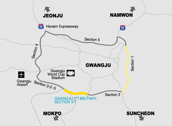 Gwangju Second Beltway Section 3-1 map